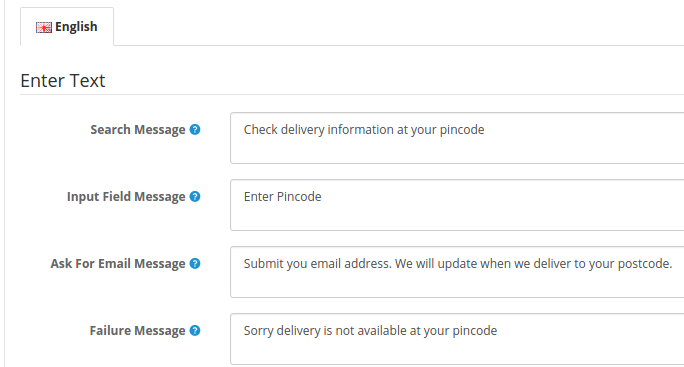 Add custom text for your postcode search box