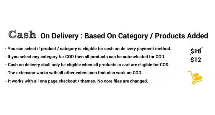 Cash on delivery based on category and product in cart
