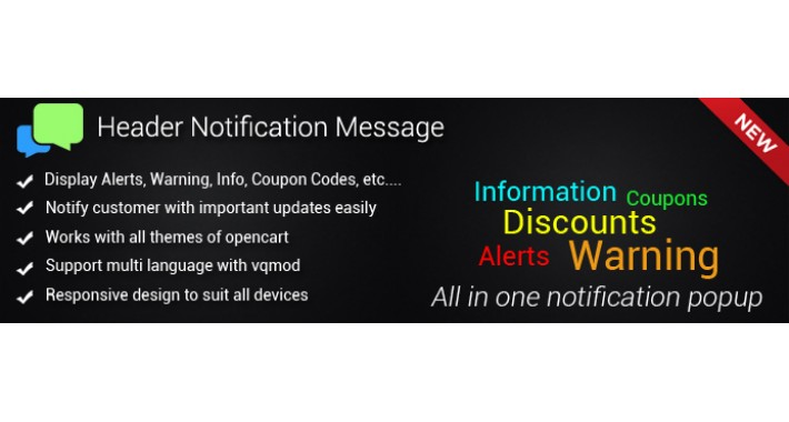 Header Notification Message - Alerts, Warnings, Information