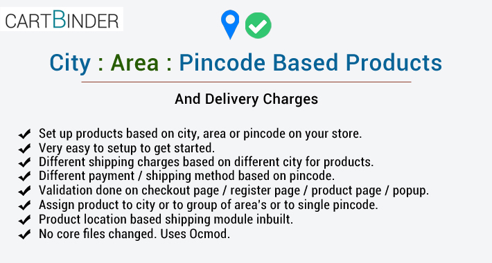 City /Area pincode based products and delivery charges